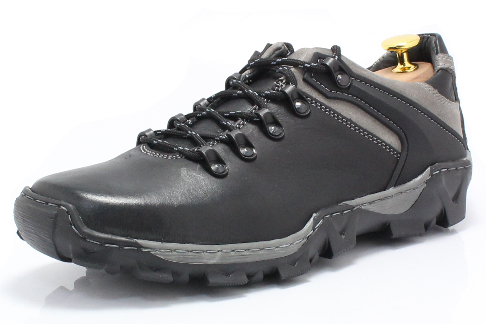 482fca77a7d50 KENT 116 CZARNO-SZARE - Trekkingowe buty męskie 100% skórzane ...