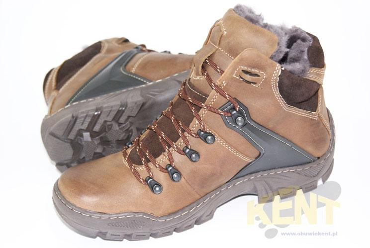 16d1a167 KENT 119 BRĄZOWE - Wysokie buty zimowe, skóra, naturalne futro ...