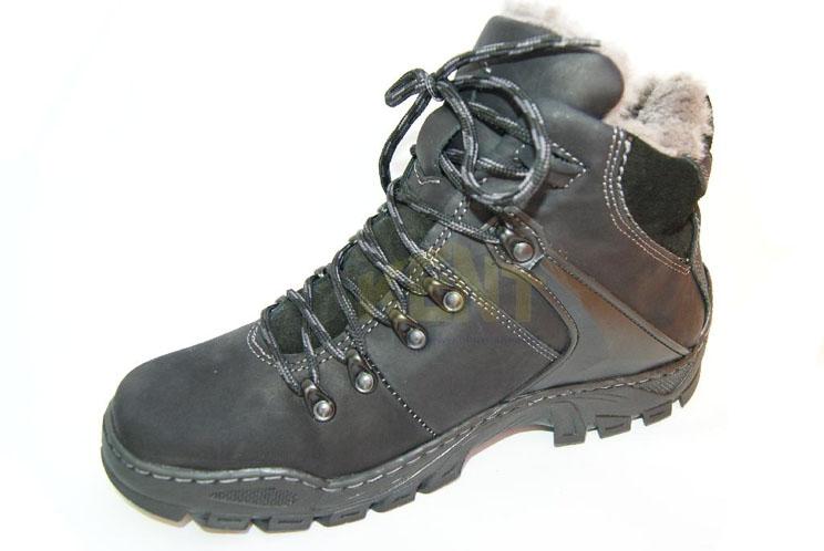 d0c3256e KENT 119 CZARNE - Wysokie buty zimowe, skóra, naturalne futro ...