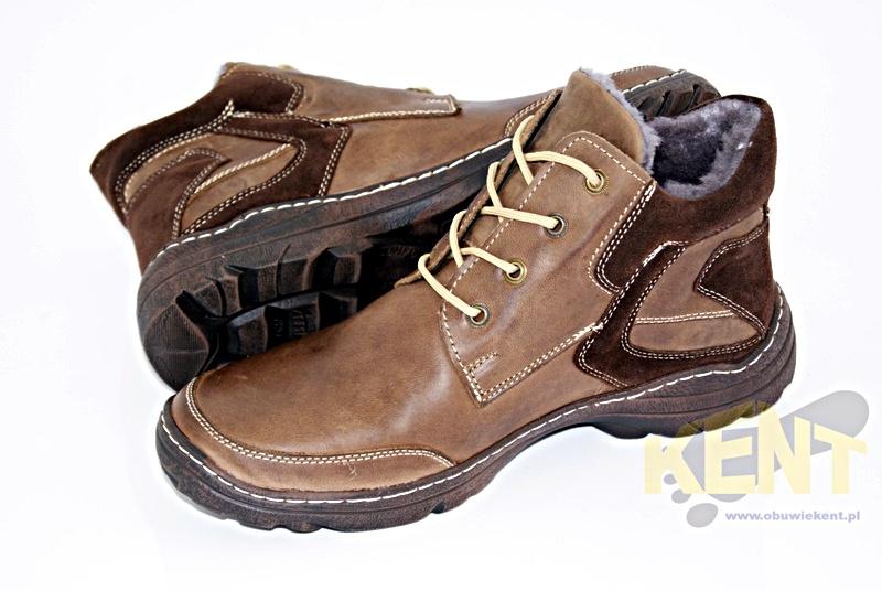 Buty skórzane męskie zimowe