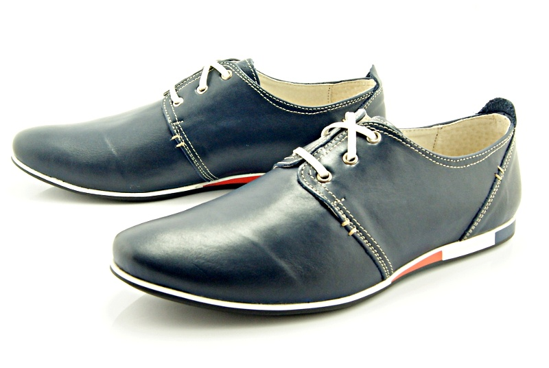 e6464248368f5 KENT 209F NIEBIESKIE - Męskie wygodne buty ze skóry - Sklep ...