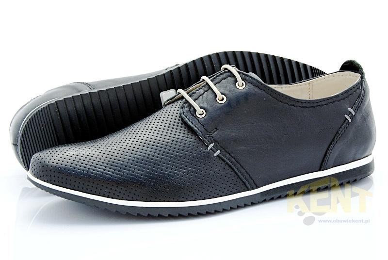 5106f998c7e73 KENT 209D CZARNE - Męskie wygodne buty ze skóry z dziurkami - Sklep ...
