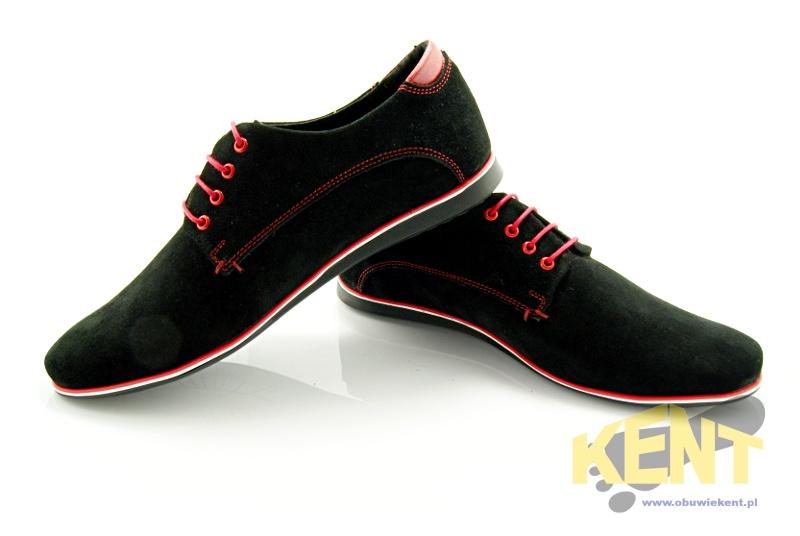 Kent 215 czarno czerwone welur m skie buty sk rzane ekskluzywna edycja wyprzeda sklep House sklep buty meskie
