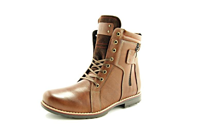 KENT 237 BRĄZ Wysokie męskie buty zimowe ze skóry Sklep