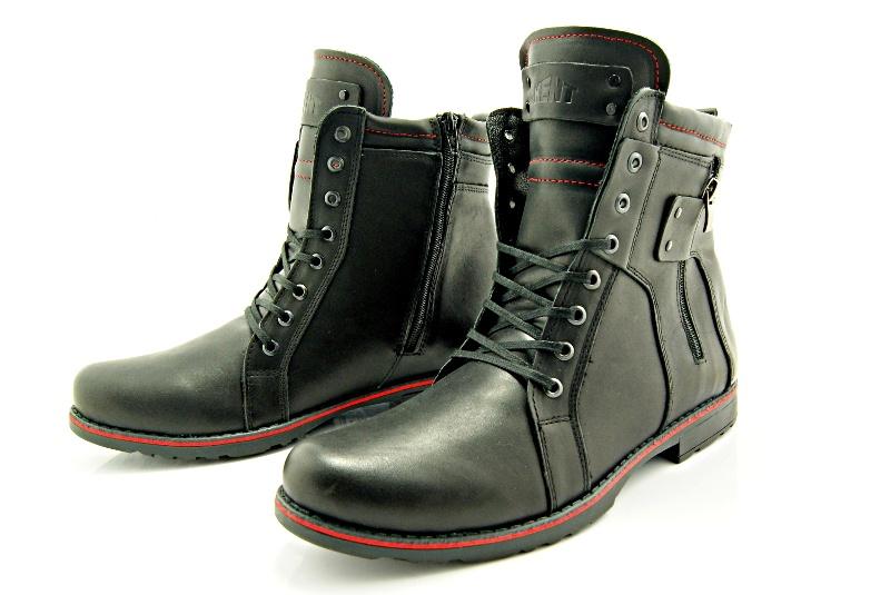 33580fb1 KENT 237 CZARNY - Wysokie męskie buty zimowe ze skóry - Sklep ...