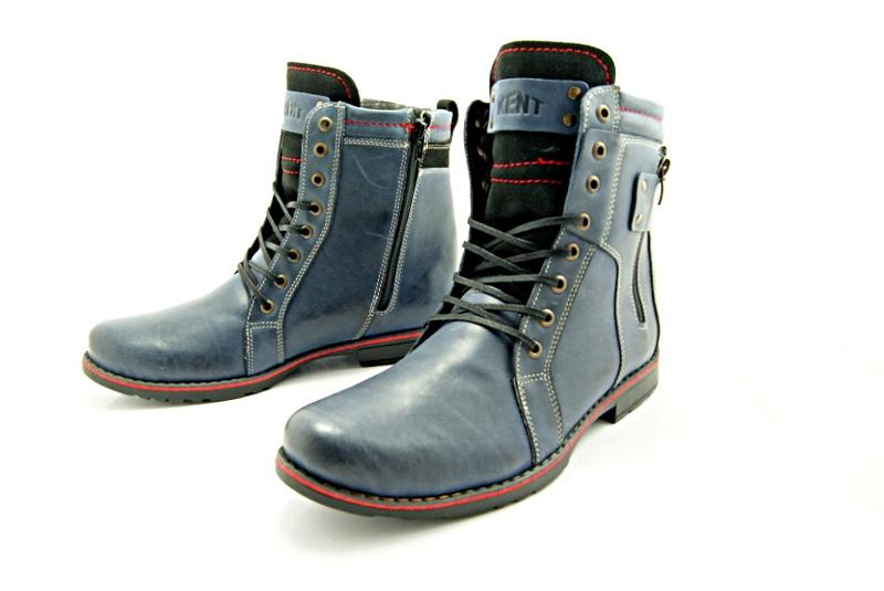 b9e67842 KENT 237 GRANATOWE - Wysokie męskie buty zimowe ze skóry - Sklep ...