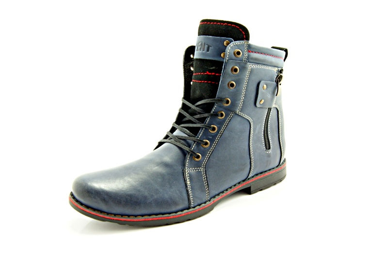 019f6587 KENT 237 GRANATOWE - Wysokie męskie buty zimowe ze skóry - Sklep ...