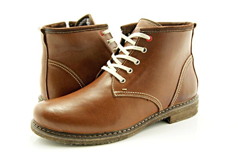 dcac37f7 KENT 238 BRĄZ - Skórzane buty zimowe ocieplone naturalnym futrem ...