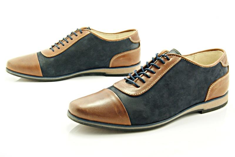 88b20508 KENT 262 BRĄZ-GRANAT - Stylowe buty męskie casual ze skóry - Sklep ...
