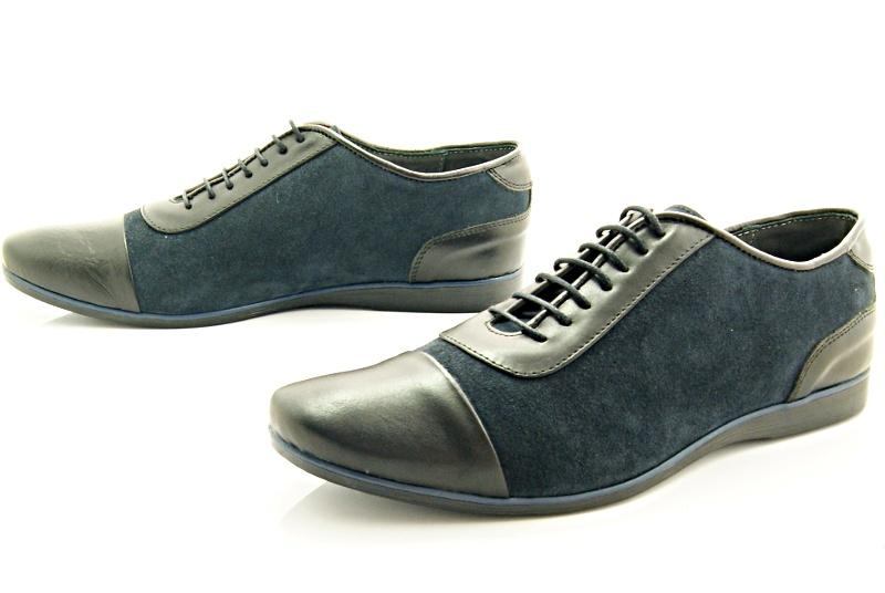 6a4b16400ea14 KENT 262 CZARNY-GRANAT - Stylowe buty męskie casual ze skóry WYPRZEDAŻ