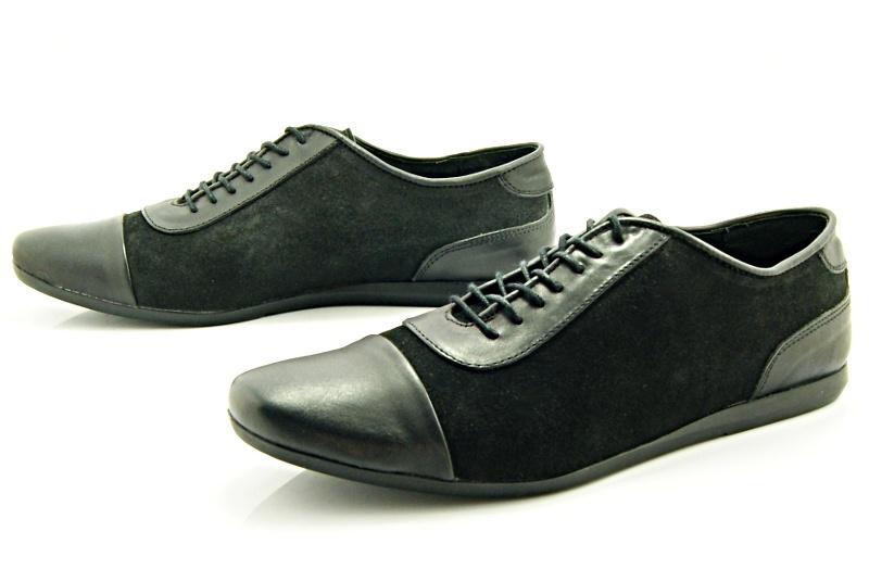77ccb6ba82065 KENT 262 CZARNY LICO+WELUR - Stylowe buty męskie casual ze skóry ...