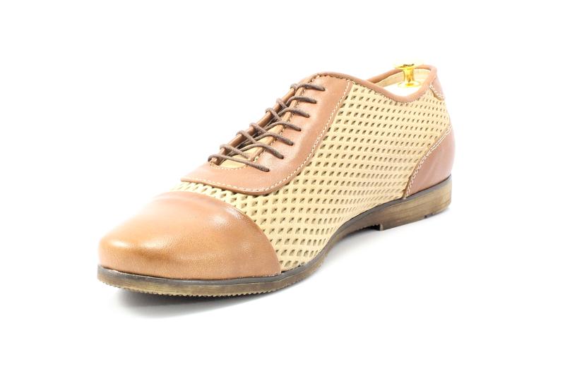 KENT 262R BRĄZ BEŻ Stylowe buty męskie casual ze skóry