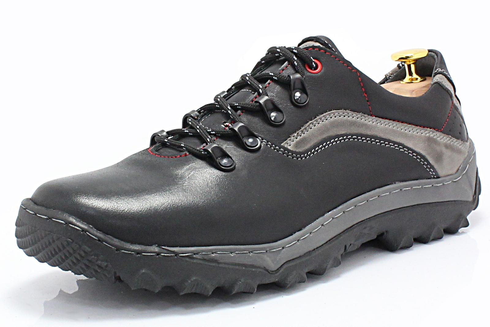 ced8ad82 KENT 268 CZARNY- Polskie solidne buty trekkingowe ze skóry naturalnej
