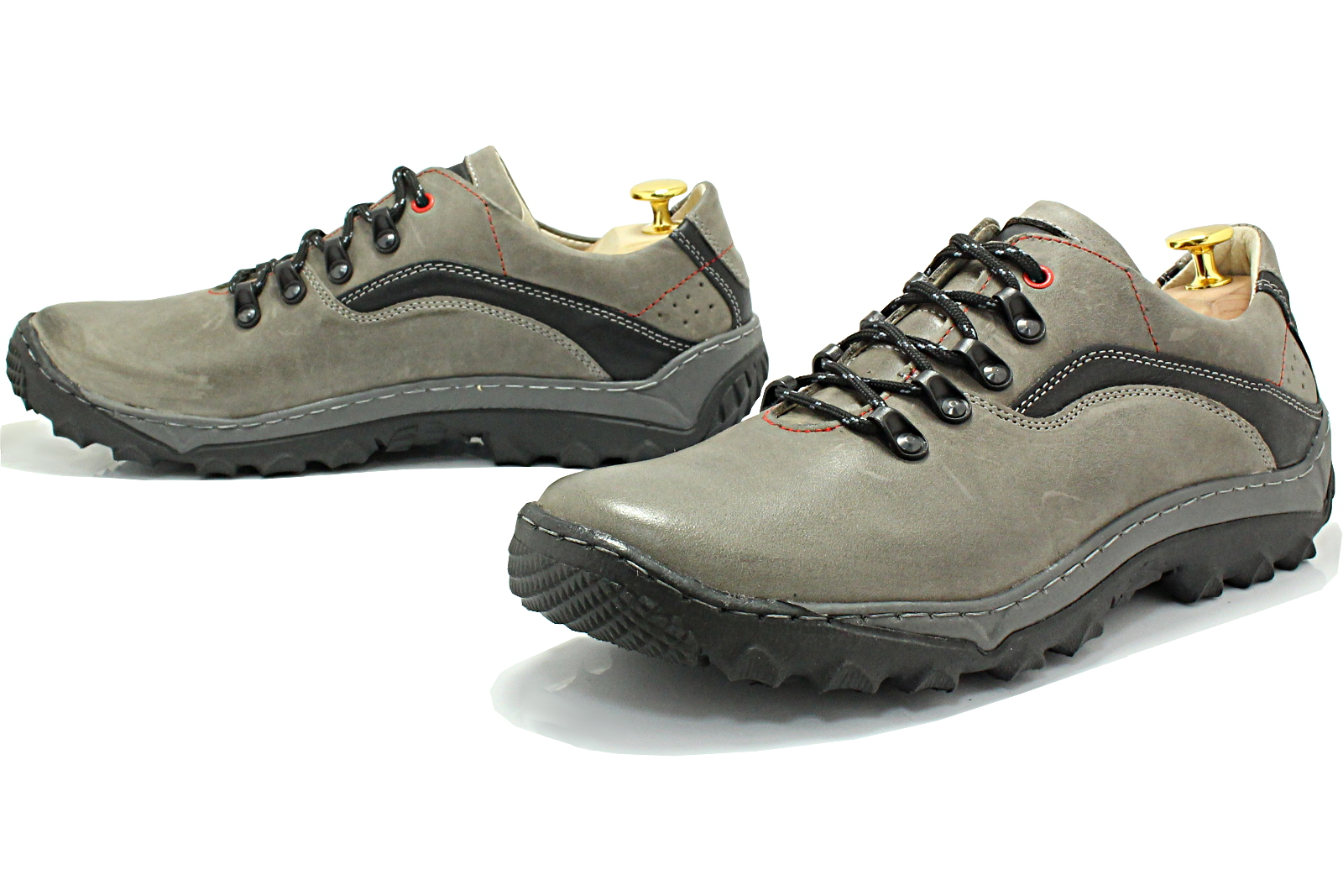 1d492933 KENT 268 SZARY - Polskie solidne buty trekkingowe ze skóry naturalnej