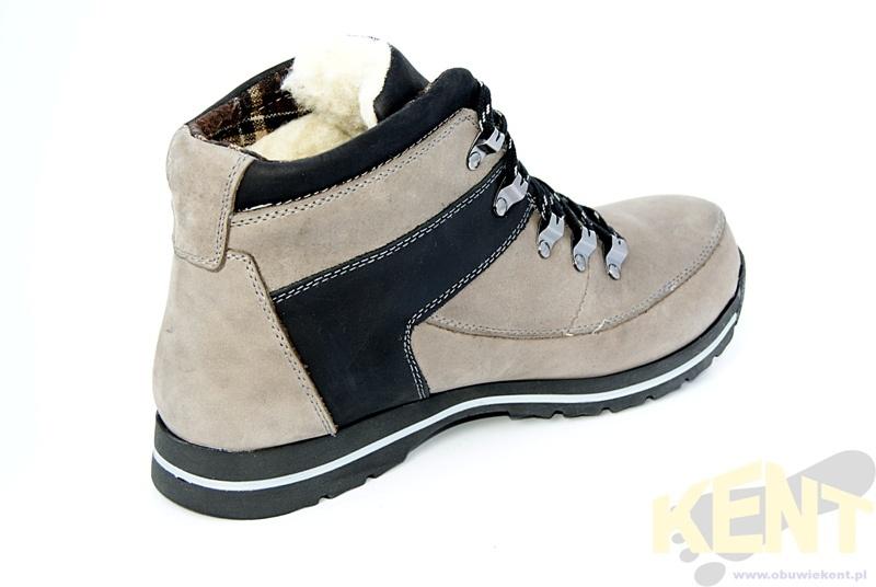 a863ee56fb0a KENT 350 SZARO-CZARNE - Zimowe buty skórzane w stylu Timberland WYPRZEDAŻ